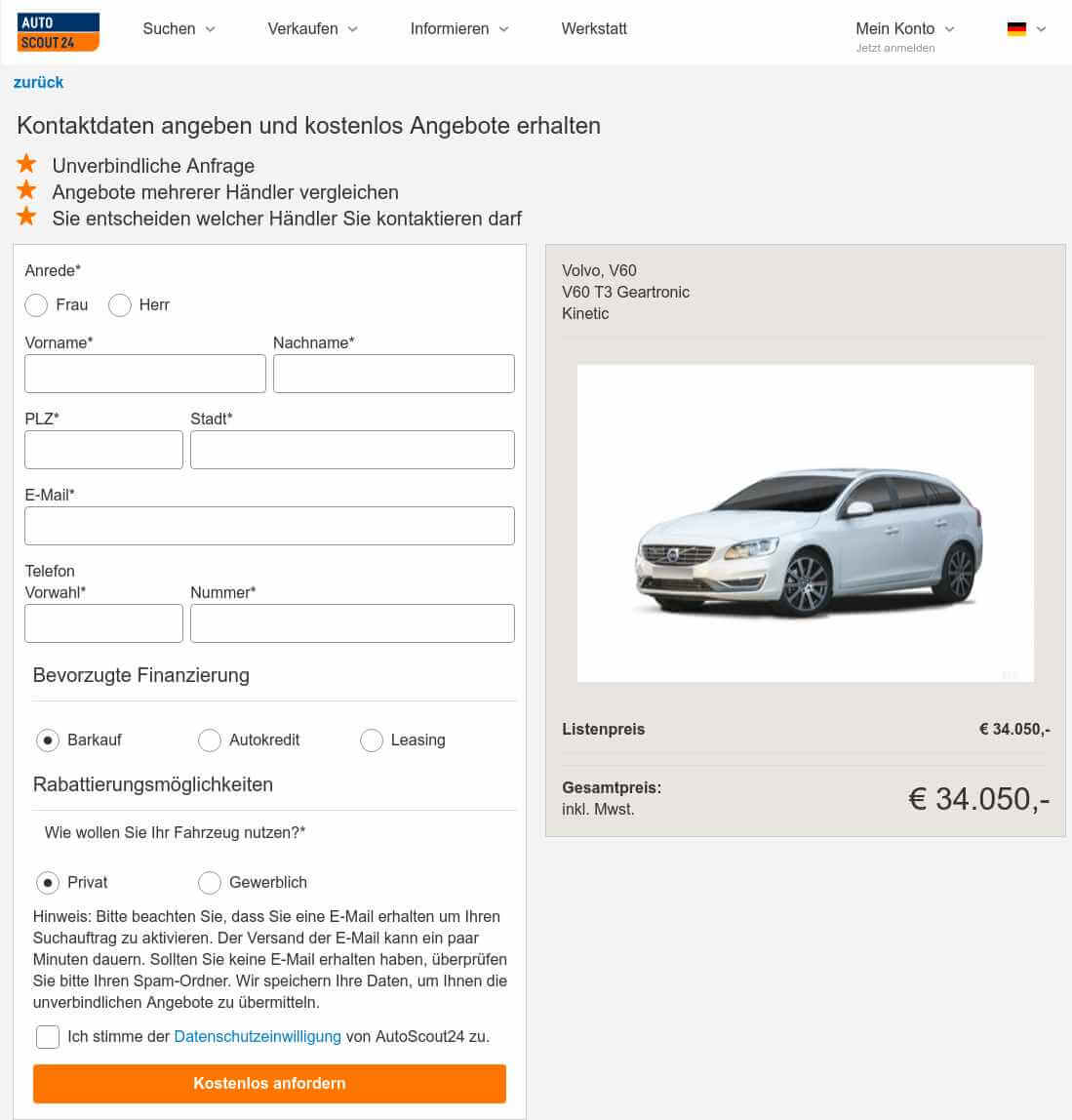 Screenshot Finanzierungsoptionen bei AutoScout24-Leasing